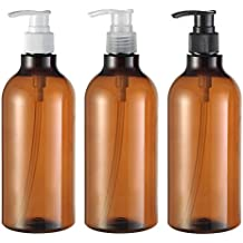 3 UNIDS 17OZ Plástico Marrón Bomba de Prensa Botella Frasco Tarros Empaquetado Contenedor de Almacenamiento Contenedor