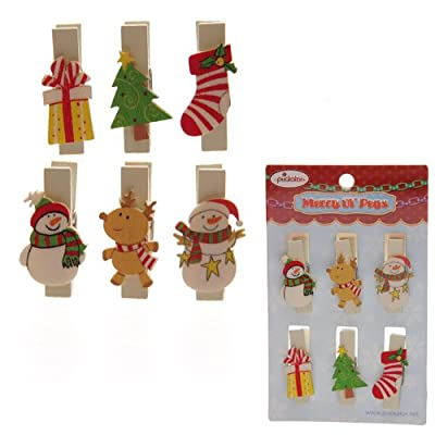 Wooden Christmas/Xmas - Decorative Novelty Pegs ~ Pack of 6