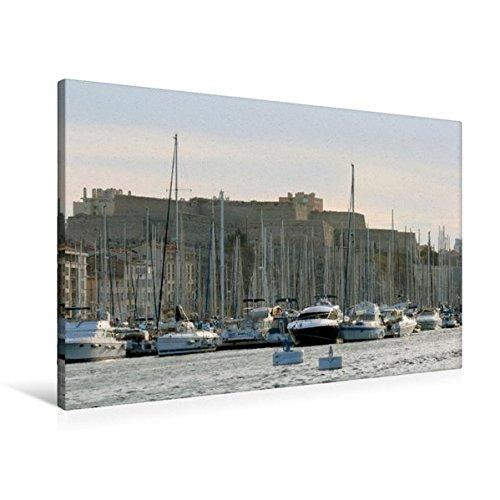 Premium Textil-Leinwand 90 cm x 60 cm quer, Im Vieux Port in Marseille mit Fort Saint Nicolas im Hintergrund | Wandbild, Bild auf Keilrahmen, ... Leinwand, Leinwanddruck (CALVENDO Orte) (Vieux Port)