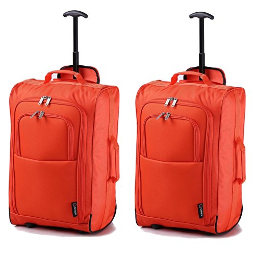 Set of 2 Super Lightweight Cabin Approved Luggage Travel Wheely Suitcase Wheeled Bags 1.65k – 42 Litres (Orange)