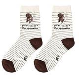 Unisex creativos de los amantes de calcetines de algodón perro de dibujos animados patrón de calcetines perro de peluche y rayas