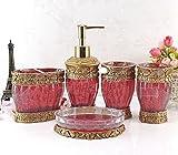 HONGS kontinental Luxus 5tlg BAD-WC Garnitur Badezimmer Set Bürste Becher Seifenspender Badgarnitur ,Rot