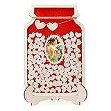 Homemaxs Hochzeit Gästebuch Alternative mit Holzrahmen, Wunschfläschchen zum Einstecken von Glückwünschen auf 36mm großen Herzscheibchen aus Holz (100 Stück) und 60mm Holz-Herzen (2 Stück)