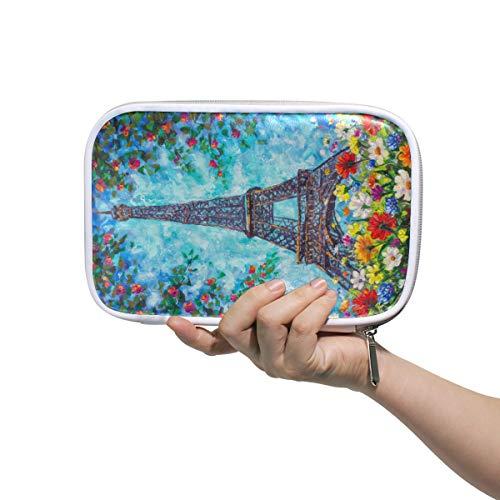 Paris Eiffelturm Federmäppchen Federmäppchen Stifteetui Schreibwaren Box Handtasche Ölgemälde Frühlingsblumen Reise Make-up Kosmetik Tasche Reisepasshalter Aufbewahrung für Frauen
