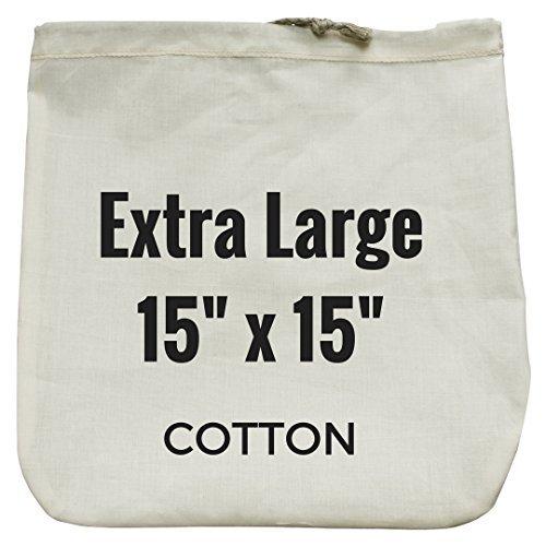 """Bolsa extralarga de leche de nueces - 15 """"x 15"""" - Colador reutilizable de alimentos orgánicos de algodón orgánico para yogur, queso, leche de nueces, té, café y más - 100% ecológico"""