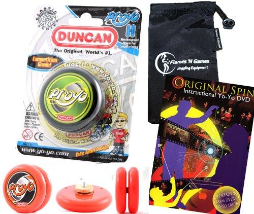 Duncan ProYo YoYo (Schwarz) Ideal Yo Yo für Anfänger + 75 Yo-Yo Tricks DVD in Englisch + Stoff Reisetasche! Große YoYo für Kinder und Erwachsene! (Trick Duncan Yoyo)