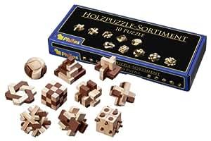 Philos 6922 - Holzpuzzle-Sortiment mit 10 unterschiedlich schwierigen Knobelspielen