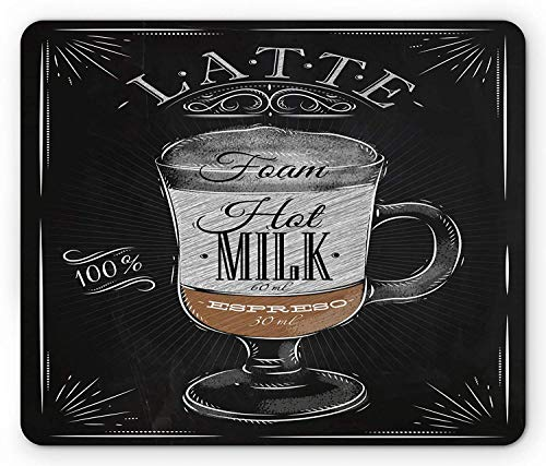 Coffee Mouse Pad, Latte Glass with Hot Milk Espresso Lettering Old Fashioned Beverage, Standard Size Rectangle Non-Slip Rubber Mousepad, Black Pale Brown Pale Grey Vintage Milk Glass