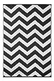 Green Decore Grün Deko-wendbar-leicht Kunststoff Teppich Psychedelia schwarz \ weiß, 4X 6FT (120x 180cm), schwarz/weiß