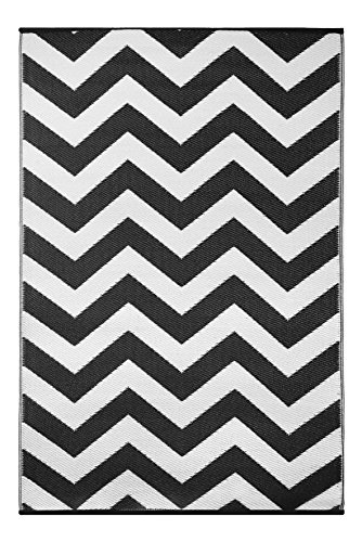 Green Decore plástico ligero interior/al aire libre Reversible alfombra multicolor negro  blanco–3x 5pies (90x 150cm), color blanco y negro