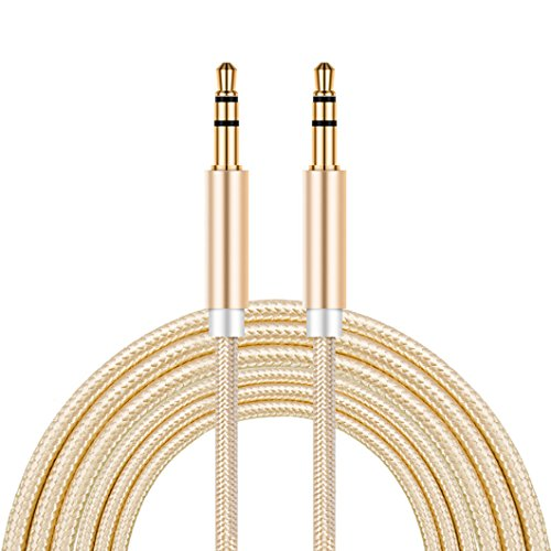 LoongGate AUX Kabel 1 Meter (3,5 ft), 3,5 mm Nylon geflochten Tangle-Free Auxiliary Male zu Male AUX Kabel für Auto / Home Stereos, Lautsprecher, iPhone iPod iPad, Kopfhörer, Sony Beats, Echo Dot (Gold)