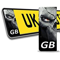 2 x Vinyl GB Badge Car Number Plate Self-adhesive Stickers Skull Skeleton Decals QV 2