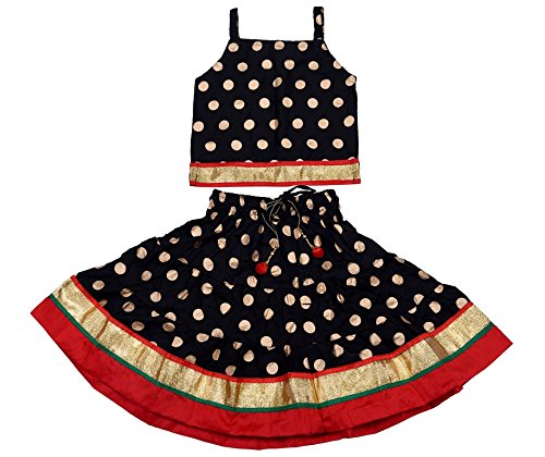 Disha Girls Lehenga choli ethnic wear rayon Polka print Ghagra Choli (Black,...