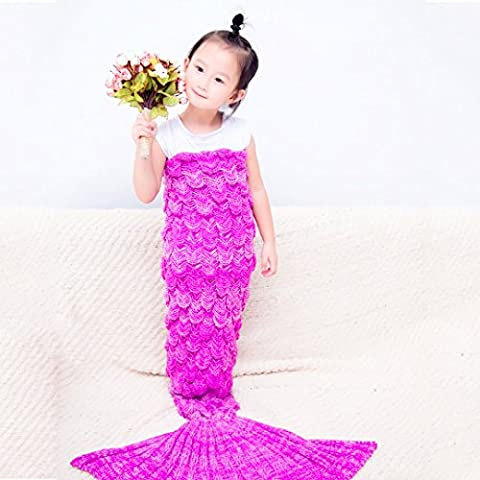 Kids Fish Scale Mermaid Tail Blanket by TimeCollect for Kids children baby Teens , 59