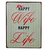 AS4HOME Blechschild Vintage Happy Wife Happy Life Wandschschild Metall