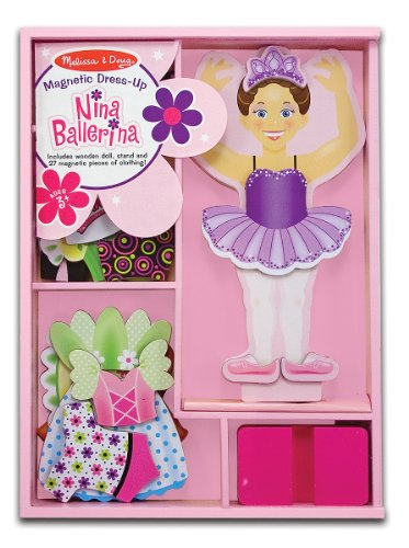 Melissa & Doug 3554 Deluxe Nina Ballerina Magnetic Dress-Up Wooden Doll with Clothing, Multicolour, 27 Pieces