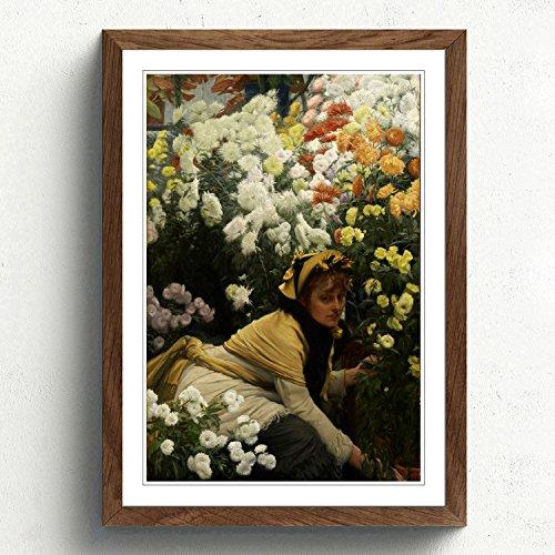 big-box-art-james-tissot-chrysanthemums-print-with-walnut-frame-multi-colour-a2-size-245-x-18-inch