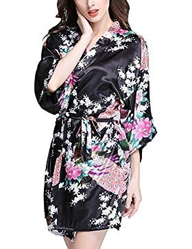 Dolamen Donna Kimono Vestaglia Pigiama Sleepwear, Raso di seta del pavone e fiori Robe Accappatoio damigella d'onore...