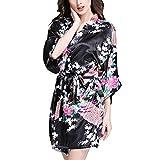 Dolamen Kimono Robe Femmes, Femmes Chemises de nuit Paon et fleurs, Robe peignoir en satin de soie Robe de nuit de demoiselle d'honneur pyjamas, Style court (X-Large, Noir)