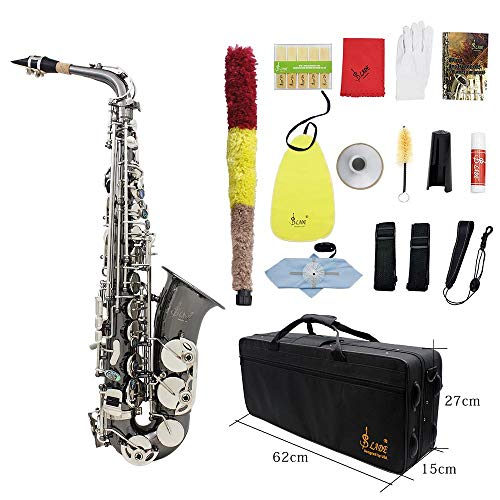 Lefang Saxophon Sax Glossy Nickel Plating Brass Brass Graved Eb E-Flat Natural Abalone Shelll Button Wind Instrument mit Case Mute Handschuhe Reinigung Tuch-Fett-Gürtel Pinsel