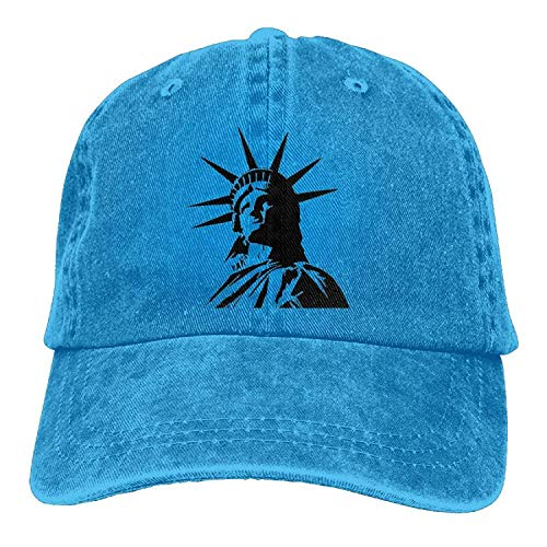 EJjheadband Statue of Liberty Retro Washed Dyed Cotton Adjustable Baseball Cowboy Cap -