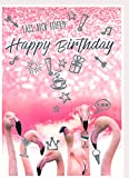 A4 XXL Geburtstagskarte Flamingos in Partylaune - Lass Dich feiern