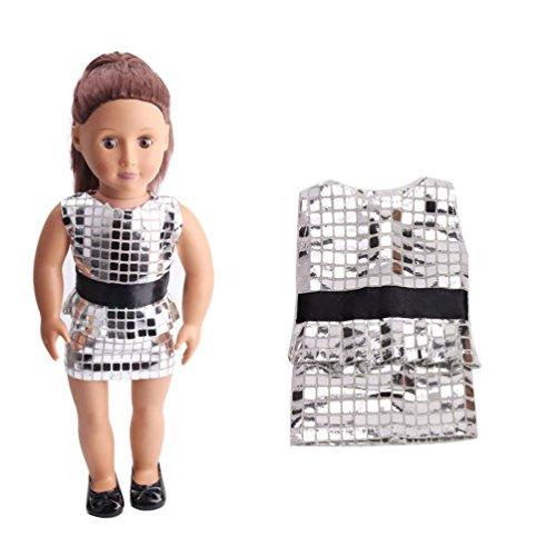 Puppen Kleidung , YUYOUG Süße Pailletten ziemlich Sommerkleid passt Outfit für 18-Zoll-American Girl Doll und anderen 16 Zoll 18 Zoll Puppen (Silber)