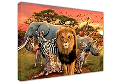 Large Canvas Wall Art Prints African Wildlife Lion Elephant Giraffe Landscape Children Bedroom Decoration Photo Home DÉcor Pictures - low-cost UK light store.
