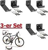 3 Stück----Fahrrad-Wandhalter für Pedaleinhängung mit Laufradstütze und Befestigungsmaterial