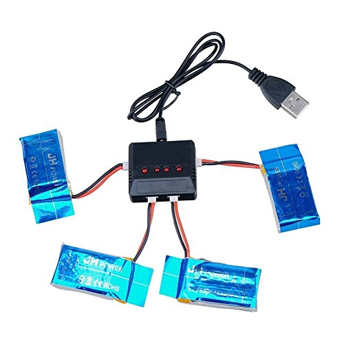 Kingtoys 4 PCS Rc Quadcopter 3.7v 850mah Li-po Battery with 4 in 1 X4 Battery Charger for Syma X5 X5c Rc Slim Parts