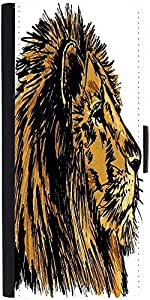 Snoogg Sketch Of A Big Male African Lion Vector Illustration Designer Protective Phone Flip Case Cover For Lenovo Vibe S1