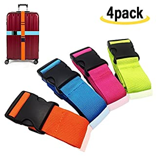 Amison Luggage Strap-Suitcase Strap Luggage Strap Adjustable Strap with Buckle Closure (4, Multi)