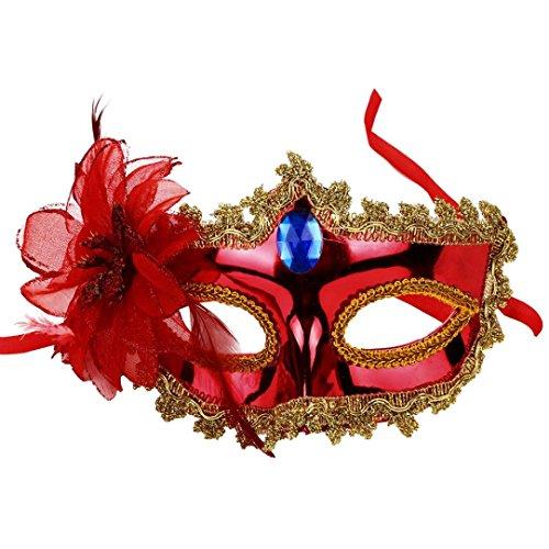 Damen Party Maske, CICIYONER Halloween Kostüm Venezianische Maskerade Prom Maske (Rot)