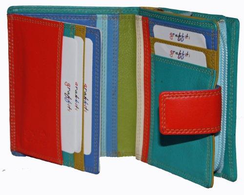 <span class='b_prefix'></span> Golunski Graffiti Ladies Medium Credit card holder purse Pacific 7142 Green Blue Multi Colour