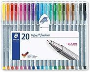 Staedtler Triplus Fineliner 334 SB20 Viltstift, Driehoekig, 20 Stuks, Meerkleurig