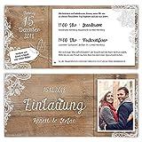 40 x Hochzeitseinladungen individuell mit Ihrem Text und Foto mit echtem Abriss als DIN Lang Ticket 99 x 210 mm - Rustikal mit weißer Spitze