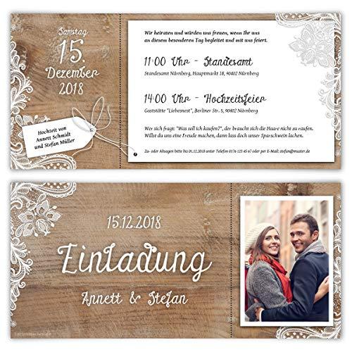 30 x Hochzeitseinladungen individuell mit Ihrem Text und Foto mit echtem Abriss als DIN Lang Ticket 99 x 210 mm - Rustikal mit weißer Spitze