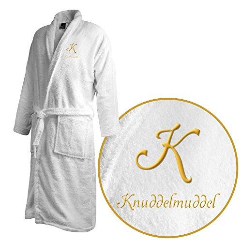 Bademantel mit Namen Knuddelmuddel bestickt - Initialien und Name als Monogramm-Stick - Größe wählen White