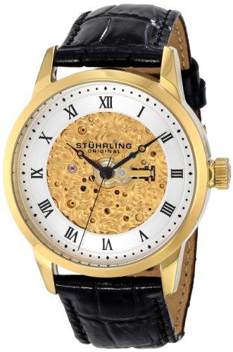 Stuhrling 585.03 - Orologio da polso da uomo, cinturino in pelle colore nero