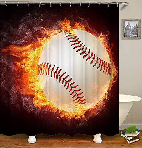 hdrjdrt Baseball-Softball-Fester Ball-Feuer-Strafball in Goldduschvorhang-wasserdichte Inneneinrichtung -