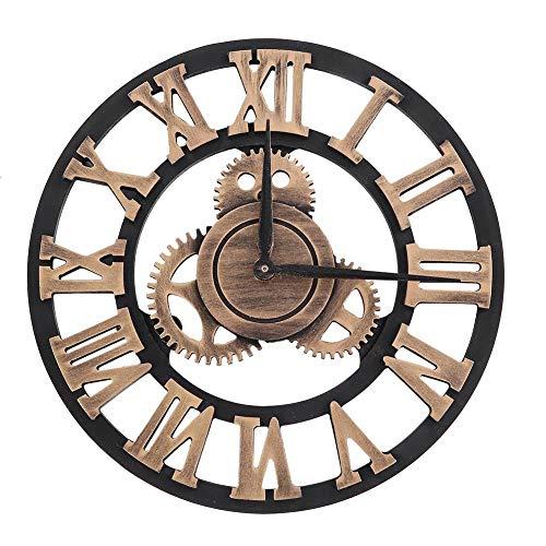 Pleasur orologio da parete vintage grande, orologi da parete a numeri romani fatti a mano orologi industriali orologi retrò europei decorazione per soggiorno, gold