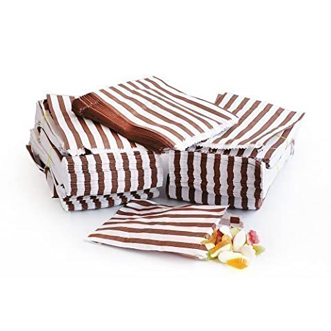 100x Brown Candy Stripe Sweet/Gift Paper Bags - 5