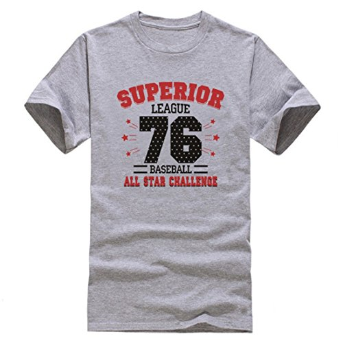 Men's Super League Baseball All Star Challenge Printed Cotton Short Sleeve Tee Shirt gray