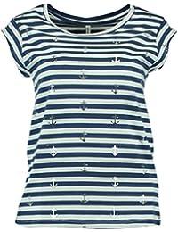 158fce7c7cdc7f Hailys Anita Maritimes Damen T-Shirt navyblue Gestreift mit Anker Gr. XS -  2XL