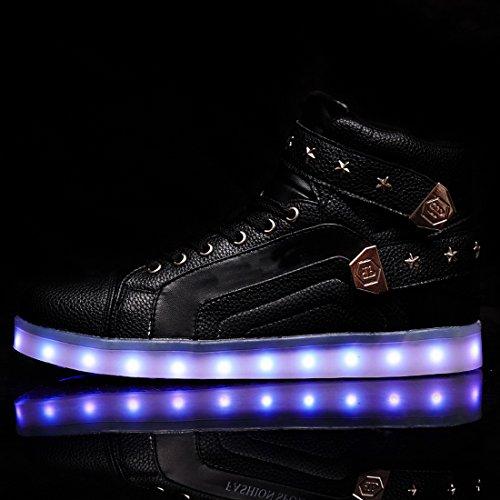 Acmebon Scarpe LED Caviglia Alta 7 Colori Intermittenti Ricaricabili Scarpe da Ginnastica Luminose per Uomini e Donne Nero