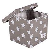 Minene 1265 Aufbewahrung Box Würfel, Grau mit weißen Sternen, 29 x 29 x 29 cm