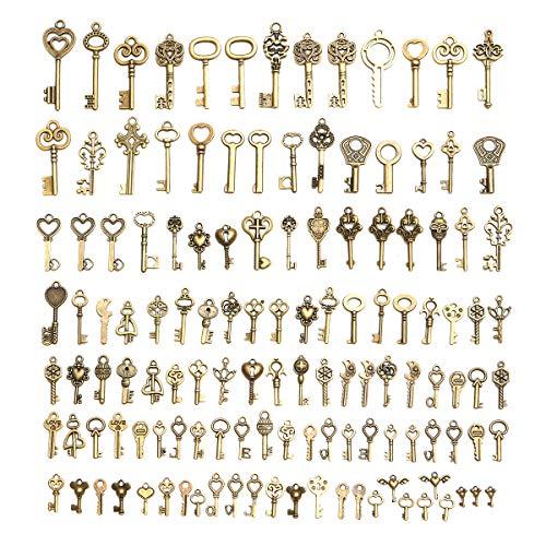 KUNSE 128Pcs Vintage Bronze Key Für Pendant Halskette Armband DIY Handgefertigte Accessoires Dekorationen