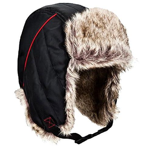 SOOCO Unisexe Hiver Oreille Flap Mens Womens Hiver Chaud Bomber Hat Masque Coupe-vent Ski Hat Trooper Trappeur.,Black-L/XL