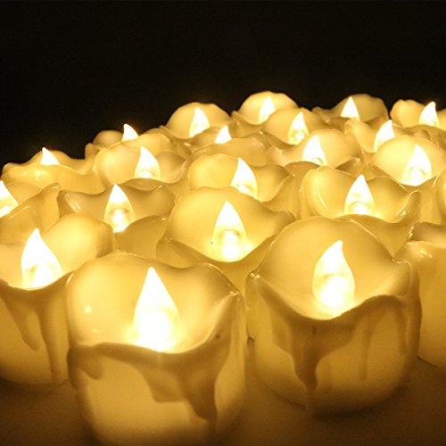 Preisvergleich Produktbild 12PCS LED Flackern Kerzen, flammenloses Teelicht mit Batterie für Halloween, Geburtstag, Abendessen, Hochzeit, Partei-Dekor (Flicker Gelb)