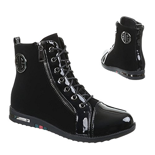 Damen Schuhe, 55014-PA, STIEFELETTEN Schwarz